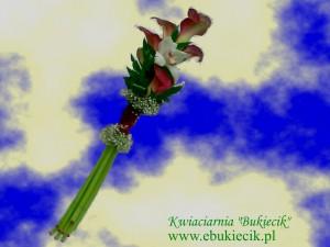 bukiet kompozycja z kalijki (Zantedeschia) z storczykiem białym na ślub, imieniny urodziny