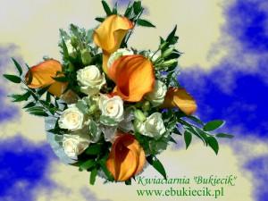 bukiet kompozycja z pomarańczowej eustomy kremowej róży i eustomy