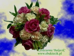 bukiet-kompozycja-z-różowej-róży-i-kremowego-goździka-miniaturkowego-na-ślub-imieniny