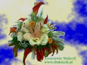 bukiet kompozycja koktajlowa z kalijki (Zantedeschia), róży, margaretki, eustomy