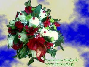 bukiet kompozycja z kremowej róży i bordowej astromerii