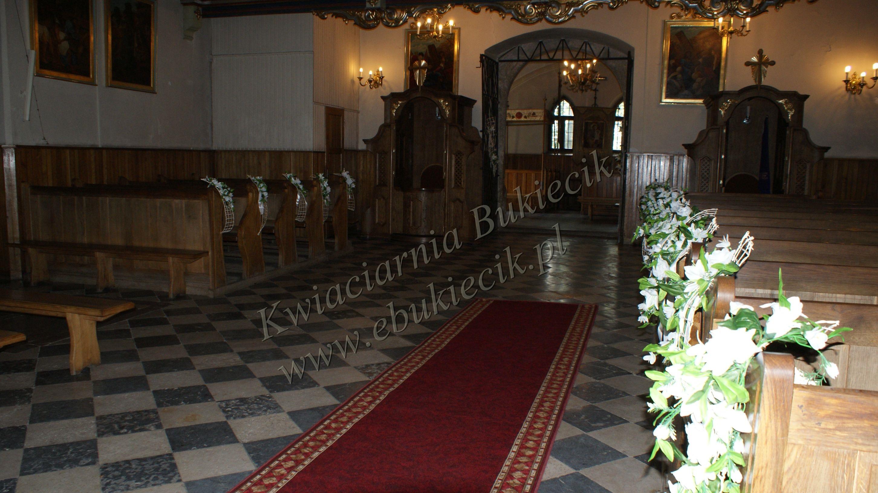 Wybitny Dekoracja kościoła na ślub- przybranie ławek. - Kwiaciarnia Bukiecik QL33